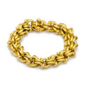 18k Yellow Gold Interlocking Ring Bracelet